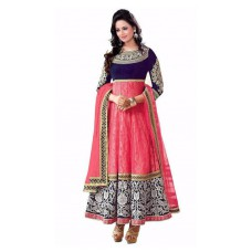 Deals, Discounts & Offers on Women Clothing - Rapid Dukan Pink Brasso Semi Stiched Suit