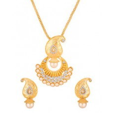 Deals, Discounts & Offers on Women - Voylla Gold Toned Pendant Set Embellished With CZ & Pearls