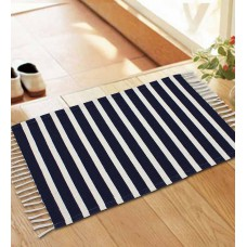 Deals, Discounts & Offers on Home Improvement - Azaani Navyblue Colour Woven Stripe Rug at Rs. 96