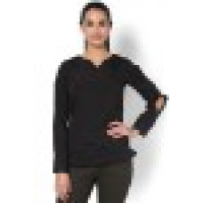 Kaaryah Offers and Deals Online - Ruhi - Black Full Sleeve with Slit on a elbow Stylized Top