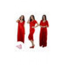 Deals, Discounts & Offers on Women Clothing - Clovia 4 Pcs Freesize Stretchable Satin Nightwear In Red