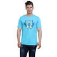 Deals, Discounts & Offers on Men Clothing - Monkie Blue Cotton T-Shirt  offer in deals of the day