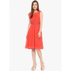 Deals, Discounts & Offers on Men Clothing - HARPA Orange Colored Embellished Skater Dress offer