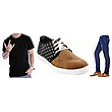 Deals, Discounts & Offers on Men Clothing - Combo Of Bacca Bucci Casual Shoes With 1 T-shirt And 1 Jeans at Rs.995
