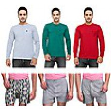 Deals, Discounts & Offers on Men Clothing - Eprilla Combo of 3 Henley Men T-shirts With 3 Boxers at Rs 1199 only