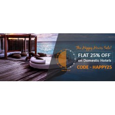 TravelGuru Offers and Deals Online - HAPPY HOUR SALE – Flat 25% Off on domestic hotels