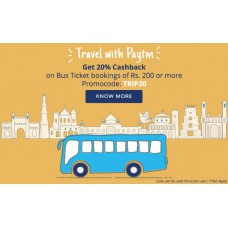 Deals, Discounts & Offers on Travel - Get Rs 200 Cash back on Bus ticket bookings of Rs 400 and above