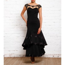 Indianroots Offers and Deals Online - Black Stone Embellished Viscose Double Layered Gown