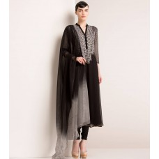 Indianroots Offers and Deals Online - Black Georgette Anarkali Suit
