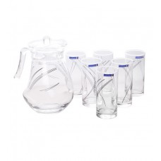 Deals, Discounts & Offers on Home Appliances - Flat 24% offer on Luminarc Wavy Black Rings Glass 1300 ML Jug & Glass - Setof 7