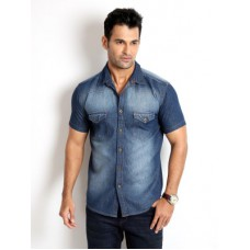 Deals, Discounts & Offers on Men Clothing - Rodid Men's Solid Casual Denim Shirt