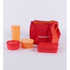 Deals, Discounts & Offers on Home & Kitchen - Tupperware Red Plastic Lunch Box with Insulated Bag