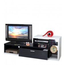 Deals, Discounts & Offers on Home Appliances - Eijirou TV Unit in Solid Black and White Finish by Mintwud