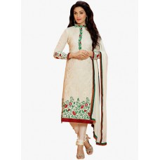 Deals, Discounts & Offers on Women Clothing - Shonaya Cream Embroidered Dress Material