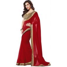 Deals, Discounts & Offers on Women Clothing - Elevate Women Solid, Plain Fashion Chiffon Sari