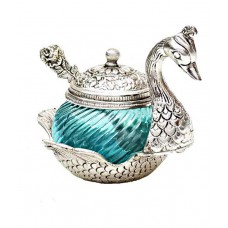 Deals, Discounts & Offers on Kitchen Containers - Sajawat Bazaar Turqoise Glass Elegant Duck Bowl with Spoon