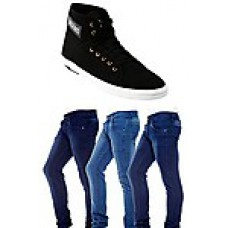 Deals, Discounts & Offers on Men - Bacca Bucci Combo of Black Men Casual Shoes With 3 Jeans