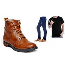 Deals, Discounts & Offers on Foot Wear -  Combo Of Bacca Bucci Boots With 1 T-shirt And 1 Jeans