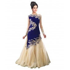 Deals, Discounts & Offers on Women Clothing - City Shop Blue & Beige Net Gown For Women