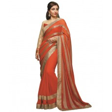 Deals, Discounts & Offers on Women Clothing - Shopeezo Orange Faux Georgette Saree