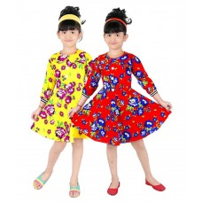 Deals, Discounts & Offers on Baby & Kids - Pinky Red and Yellow Frock - Set of 2