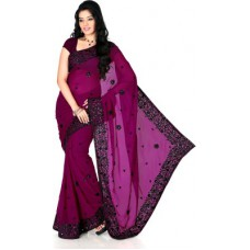 Deals, Discounts & Offers on Women Clothing - Designersareez Self Design Fashion Georgette Sari