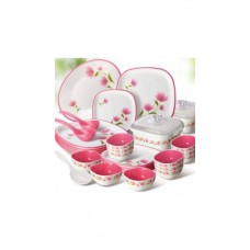 Deals, Discounts & Offers on Home Appliances - Nayasa White And Pink Square Dinner Set 32 Pcs