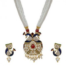 Deals, Discounts & Offers on Earings and Necklace - Peacock Design Necklace With White Pearl Chain By Sparkling Jewellery