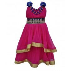 Deals, Discounts & Offers on Baby & Kids - Kids Rock Fuchsia Embellished Girls Layered Dress
