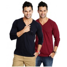 Deals, Discounts & Offers on Men Clothing - Flat 68% offer on Rodid Solid Men's V-neck T-Shirt