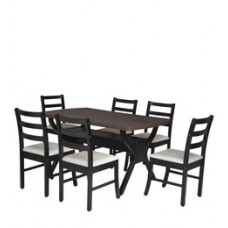 Deals, Discounts & Offers on Home Appliances - Six Seater Dining Set with Six Chairs & MDF Top in Wenge Colour by Crystal Furnitech