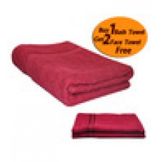 Deals, Discounts & Offers on Home Decor & Festive Needs - Eurospa Red Cotton Bath Towel