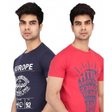 Deals, Discounts & Offers on Men Clothing - Acropolis by Shoppers Stop Pack of 2 Navy Blue & Red Printed T Shirts