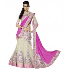 Deals, Discounts & Offers on Women Clothing - Flat 63% offer on SVM Pink Faux Georgette Lehenga