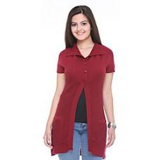 Deals, Discounts & Offers on Women Clothing - Cee For Red Woollen Plain Women Cardigan
