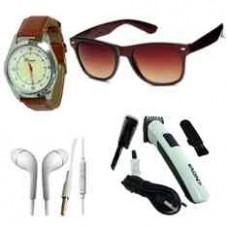 Deals, Discounts & Offers on Men - Combo Of Wayfarer, Watch, Earphone & Nova Hair Trimmer