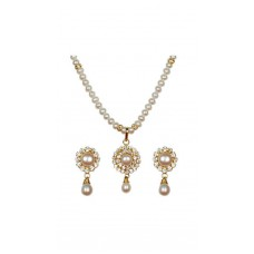 Deals, Discounts & Offers on Earings and Necklace - Classique Designer Jewellery White Pearl Necklace Set