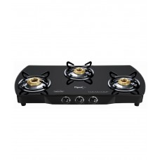 Deals, Discounts & Offers on Home & Kitchen - Flat 45% offer on Pigeon Brass Black 3 Burner Glass Top