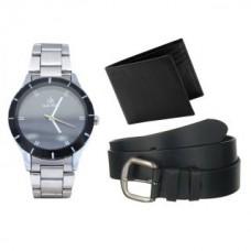 Deals, Discounts & Offers on Men - Flat 81% off on Jack klein Metal Elegent Watch With Black Leather Belt + Leather Wallet