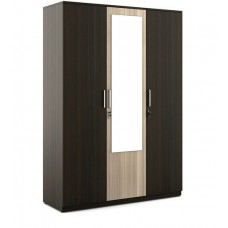 Deals, Discounts & Offers on Home Appliances - Kosmo Stark Three Door Wardrobe with Mirror in Fumed Oak & Mountain Larch Finish by Spacewood