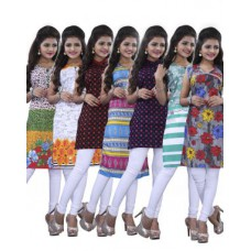 Deals, Discounts & Offers on Women Clothing - Set Of 7 Surat Tex Multi Color Cotton Casual Wear Printed Kurti
