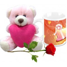 Deals, Discounts & Offers on Home Decor & Festive Needs - HomeSoGood Amazing Valentine's Day Gift Coffee With Teddy & Red Rose Ceramic Mug