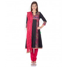 Deals, Discounts & Offers on Women Clothing - Rain & Rainbow Black Regular Fit Salwar Suits With Dupatta