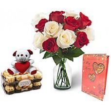 Deals, Discounts & Offers on Home Decor & Festive Needs - KaBloom Dozen Red & White Rose Bouquet