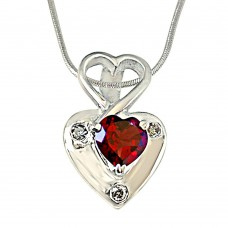 Deals, Discounts & Offers on Earings and Necklace - Surat Diamond Real Diamond & Heart Shaped Red Garnet Pendant With Chain