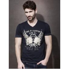 Deals, Discounts & Offers on Men Clothing - Roadster Printed Men's V-neck T-Shirt
