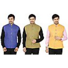 Deals, Discounts & Offers on Men Clothing - Combo of 3 Cotton Plain Men Nehru Jackets at Rs 1099 only