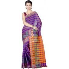 Deals, Discounts & Offers on Women Clothing - Chandrakala Striped Banarasi Banarasi Silk Sari