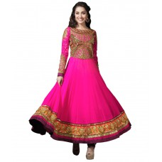 Deals, Discounts & Offers on Women Clothing - Traditional 2 Trendy Pink Faux Georgette Unstitched Dress Material