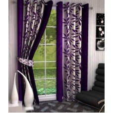 Deals, Discounts & Offers on Home Improvement - Optimistic Home Furnishing Polyester Purple Floral Eyelet Window Curtain